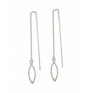 Open Marquise Silver Pull Through Earrings