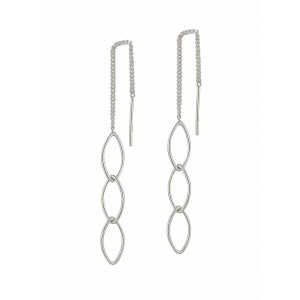 Interlink Open Marquise Silver Thread Earrings