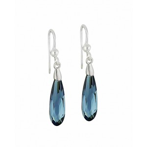 Montana Blue Swarovski Crystal Silver Drop Earrings