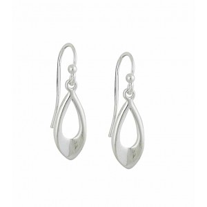 Cut Out Small Teardrop Silver Dangly Earrings