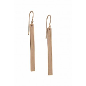 Rose Gold Plated Silver Bar Drop Earrings