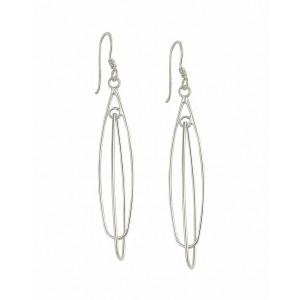 Double Loop Silver Drop Earrings