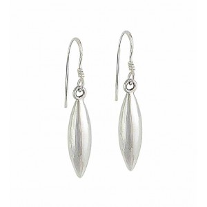 Silver Bean Drop Earrings