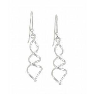 Double Twist Silver Drop Earrings