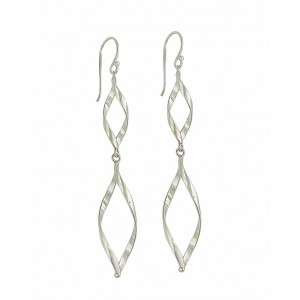 Twisted Diamond Extra Long Silver Earrings