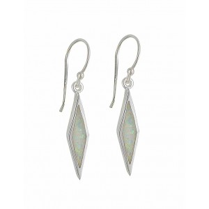 White Opal Diamond Design Silver Drop Earrings