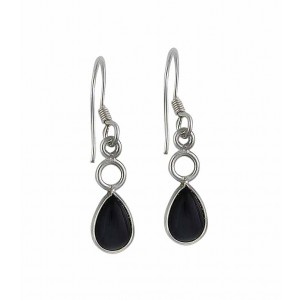 Pear Shaped Silver Black Onyx Earrings