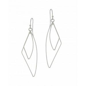 Irregular Open Triangle Silver Drop Earrings