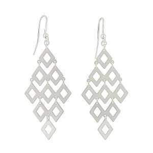 Linked Diamond Silver Drop Earrings