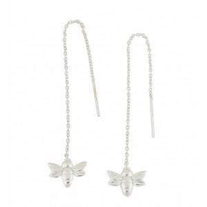 Silver Bee Threader Earrings