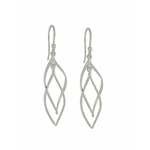 Plain and Rope Style Twisted Silver Dangle Earrings