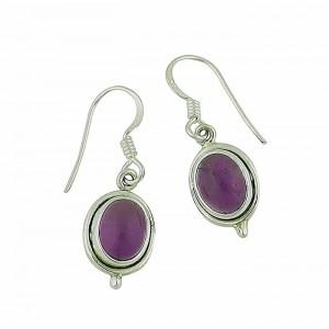 Oval Amethyst Small Silver Drop Earrings