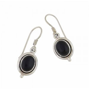 Oval Black Onyx Small Silver Drop Earrings