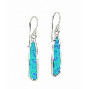 Linear Flow Blue Opal Drop Earrings