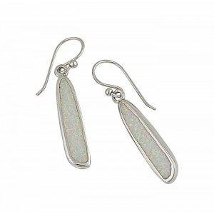 Linear Flow White Opal Drop Earrings