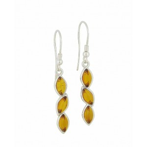 Triple Marquoise Silver Amber Earrings