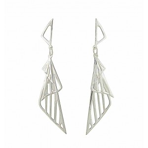 Conical Dream Silver Drop Earrings