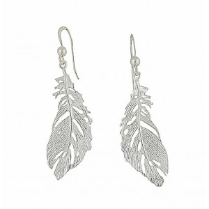 Feathered Silver Drop Earrings
