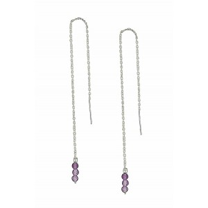 Amethyst Drop Silver Threader Earrings