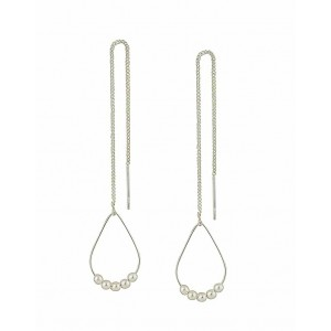 Silver Beaded Teardrop Threader Earrings