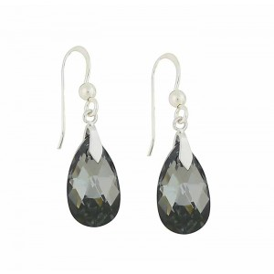 Faceted Silver Night Swarovski Drop Earrings