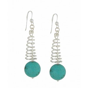 Turquoise Spiral Silver Drop Earrings
