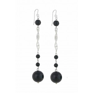 Onyx Belle Long Dangle Silver Earrings