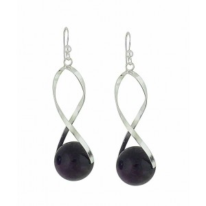 Encased Amethyst Silver Drop Earrings