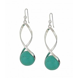 Encased Turquoise Silver Drop Earrings