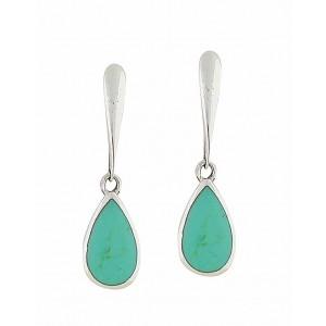 Turquoise Dewdrop Silver Earrings
