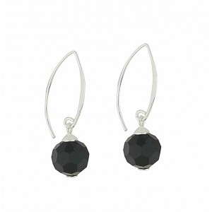 Onyx Faceted Silver Drop Earrings