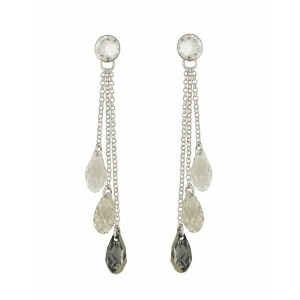 Scaled Silver Night Swarovski Trio Drop Earrings