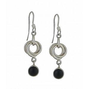Onyx Trapeze Silver Drop Earrings