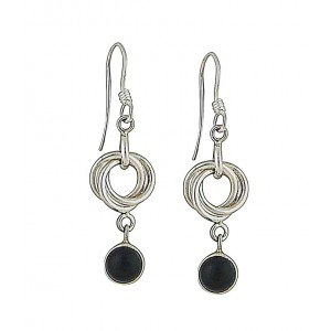 Onyx Trapeze Silver Drop Earrings