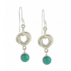Turquoise Trapeze Silver Drop Earrings