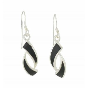 Obverse Black Onyx Silver Drop Earrings