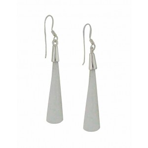 Ascending Drop White Opal Silver Earrings