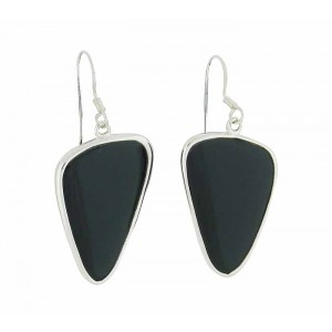 Plectrum Black Onyx Silver Earrings
