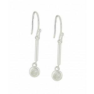 Cubic Zirconia Bar Silver Drop Earrings