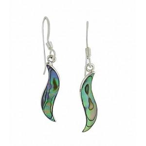 Abalone Curve Dangle Silver Earrings