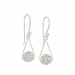 Cubic Zirconia Cradled Silver Drop Earrings