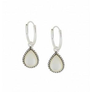 Hoop Link Mother of Pearl Teardrop Silver Earrings