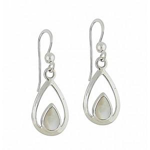 Mother of Pearl Cradle Silver Drop Earrings