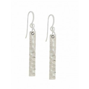 Hammered Bar Silver Drop Earrings