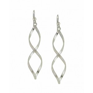 Etched Figure of Eight Silver Drop Earrings