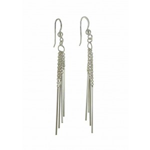 Long Chain Strand Silver Dangle Earrings