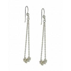 Thread Loop Silver Long Earrings