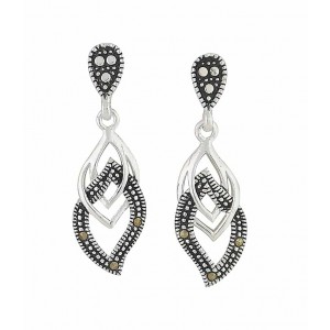 Linked Marcasite Curve Silver Drop Earrings