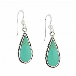 Turquoise Teardrop Edged Silver Drop Earrings