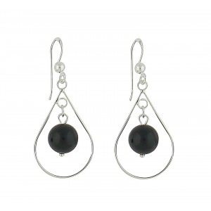 Suspended Black Onyx Drop Earrings